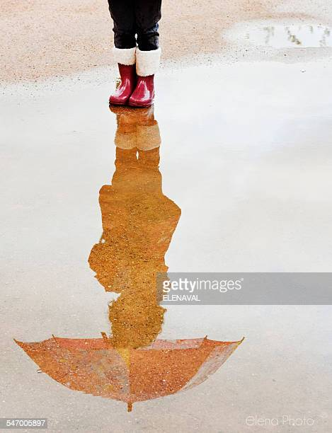 Reflection of a girl holding an umbrella in a puddle