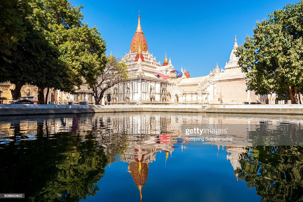 reflection of Ananda temple , Beautiful temple in Bagan , Myanmar : Stock Photo