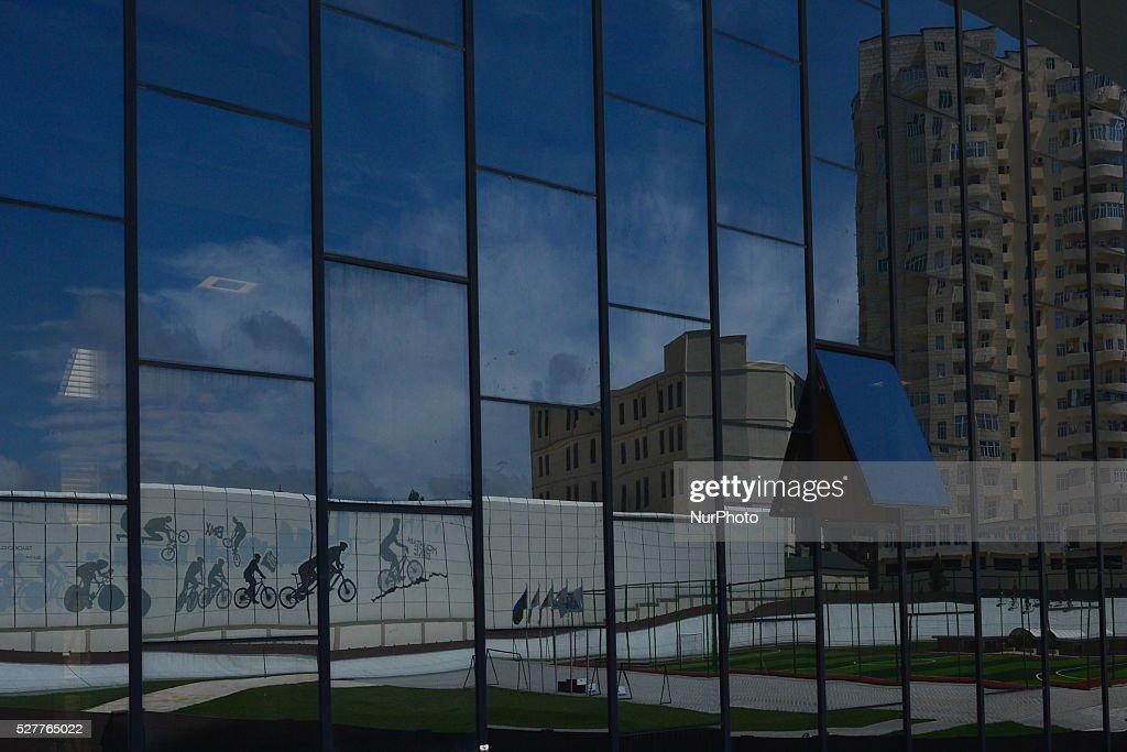 A reflection of Baku Velodrom in the glass. On Thursday, 3 May 2016, in Baku, Azerbaijan.
