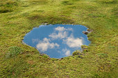 Reflection of blue sky and clouds in puddle