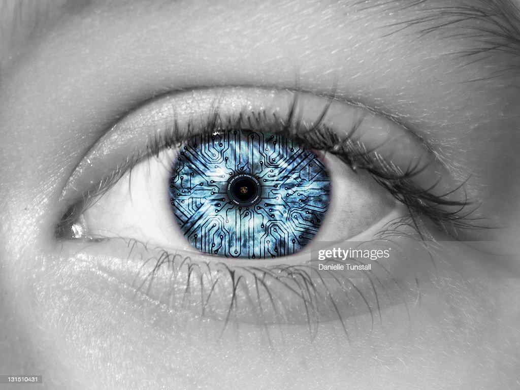 Reflection of camera lens in eye