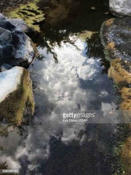 Reflection of cloud in river