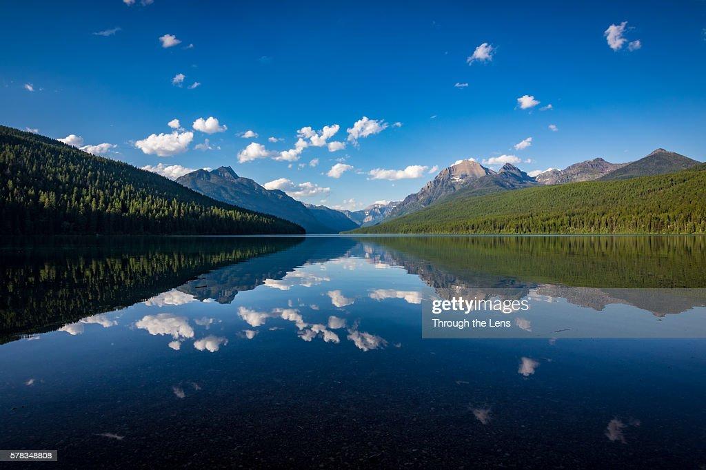 Reflection of clouds at Bowman Lake