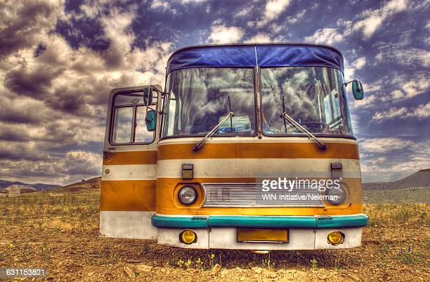 Reflection of clouds in the windshield of a bus, Crimea, Ukraine