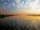 Reflection of clouds on water, Nile River, Egypt