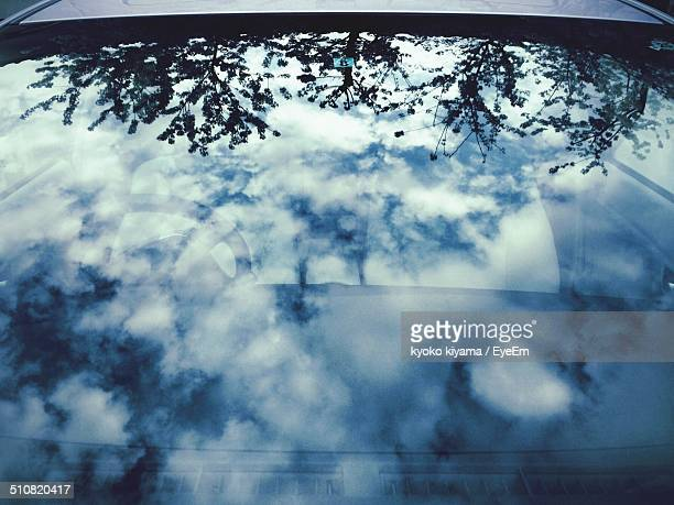 Reflection of clouds on windscreen