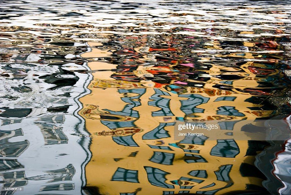 Reflection of Copenhagen harbour : Stock Photo