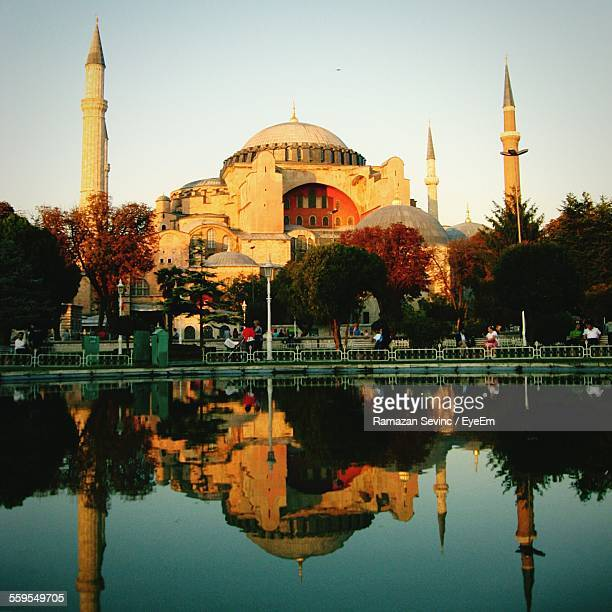 Reflection Of Hagia Sophia On Water Against Clear Sky