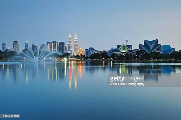 Reflection of Kuala Lumpur Night Scene