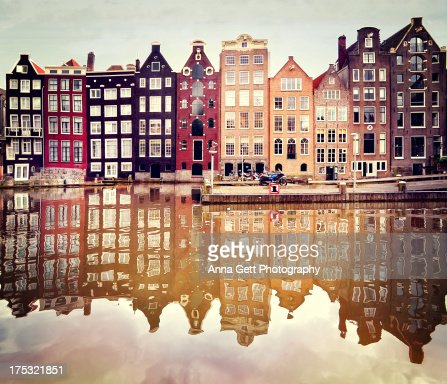 Reflection of Medieval houses in Amsterdam