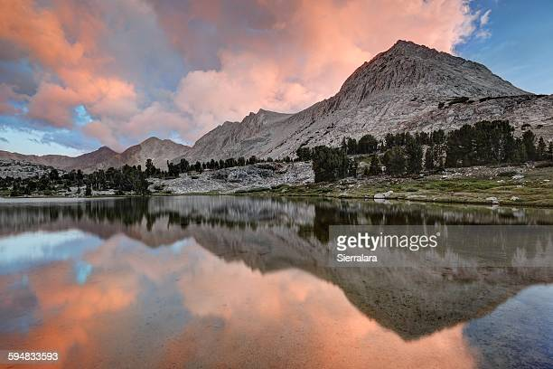 Reflection of mount Ickes in lake, Kings Canyon National Park, USA