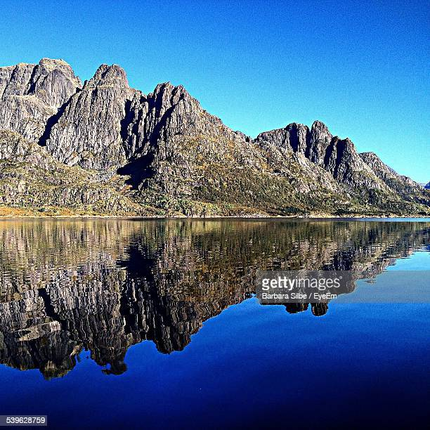 Reflection Of Mountains In Lake Against Clear Blue Sky