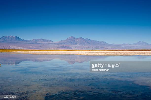 Reflection of mountains in water, Laguna Cejar, Salar De Atacama, San Pedro De Atacama, Antofagasta Region, Chile