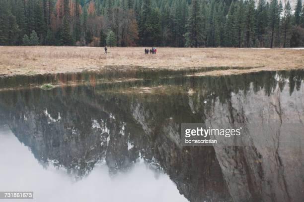 Reflection Of Mountains On Lake At Yosemite National Park