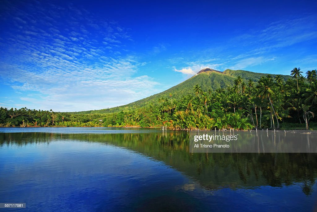 Reflection of Mt Gamalama North Maluku : Stock Photo