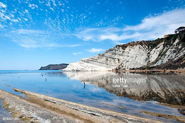 TURCHI REALMONTE SICILY ITALY Reflection of Scala dei Turchi or Stairs of the Turks at Realmonte southern Sicily Italy The Scala is formed by marl a...