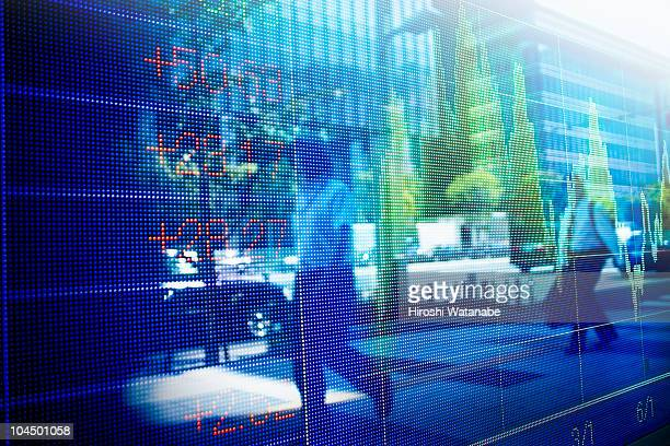 Reflection of stock market graph in window