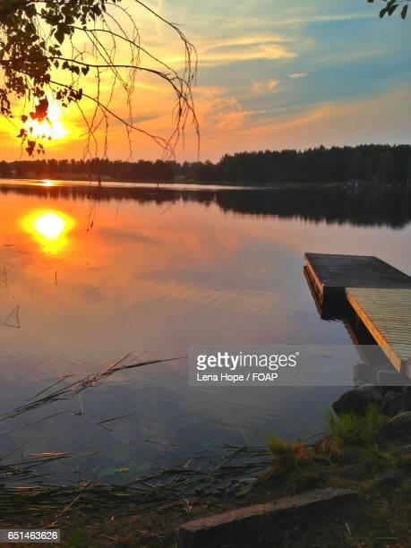 Reflection of sun in lake