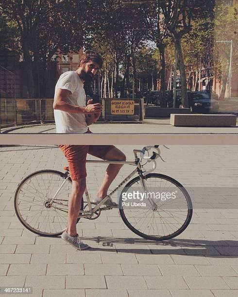 Reflection of urban biker