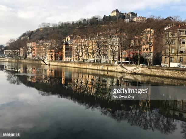 Reflection of Viex Lyon on the River Saône