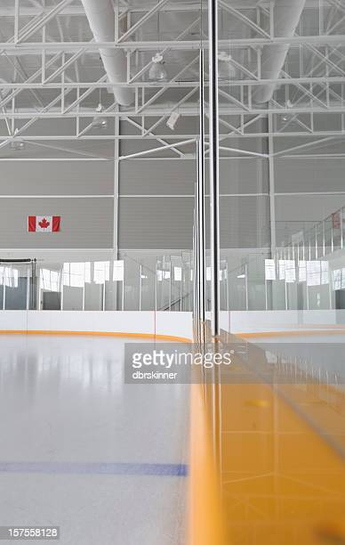 Reflection on hockey rink boards
