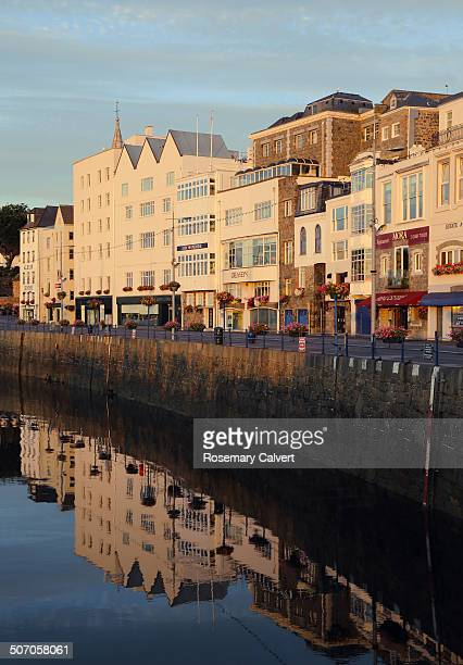 Reflections of sunlit buildings, St Peter Port.