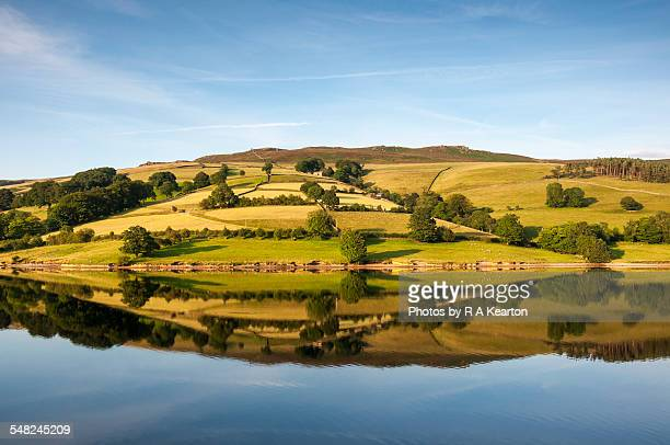 Reflections on Ladybower reservoir in summer