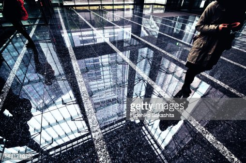 Reflections on marble floor : Stock Photo