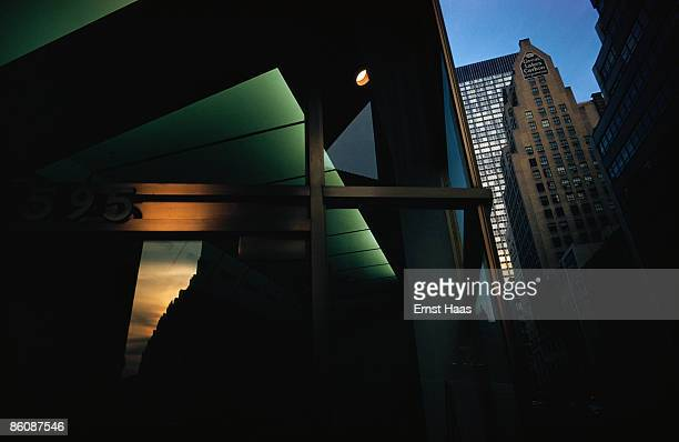 Reflections on the architecture in New York City 1975 The Great Lakes Carbon Corporation building is on the right