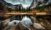 Reflections of the Mountains on Mirror Lake in Yosemite National Park