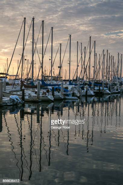 Reflections on the water in the downtown harbor are viewed on September 1 in Santa Barbara California Because of its close proximity to Southern...