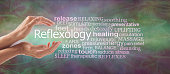 female cupped hands with the word REFLEXOLOGY floating between surrounded by a relevant word tag cloud on a rustic multi coloured background
