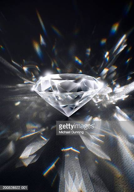 Refracted light from diamond, close-up