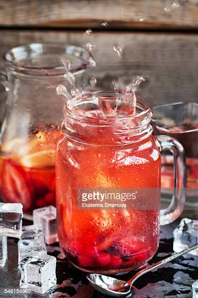 Refreshing cold fruit lemonade