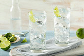 Refreshing Hard Sparkling Water with a Lime Garnish