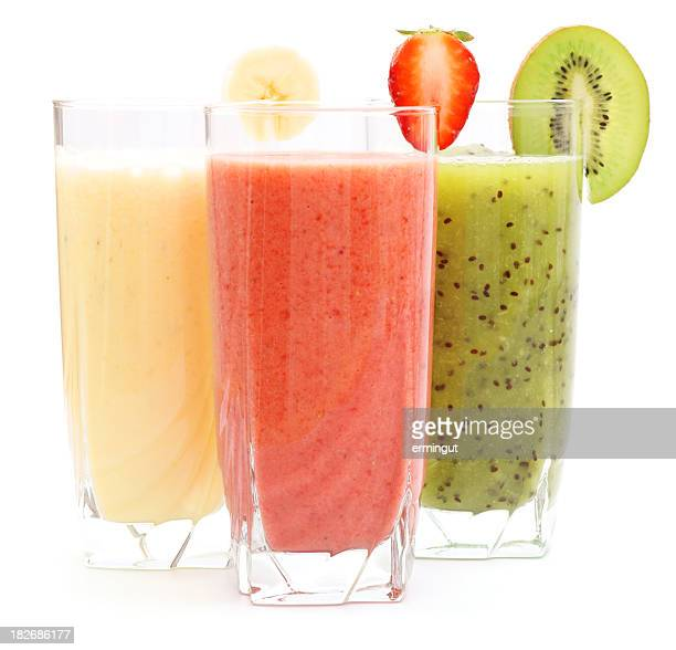 Refreshing juices from kiwi, banana and strawberry