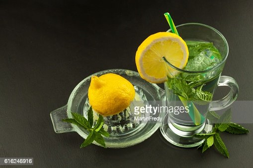 Refreshing mint and lemon. Homemade lemonade : Stock Photo