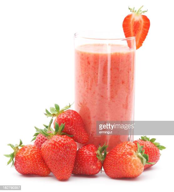 Refreshing strawberry smoothie with fresh strawberries