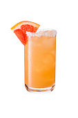 Refreshing Tequila Paloma Cocktail on White with a Clipping Path