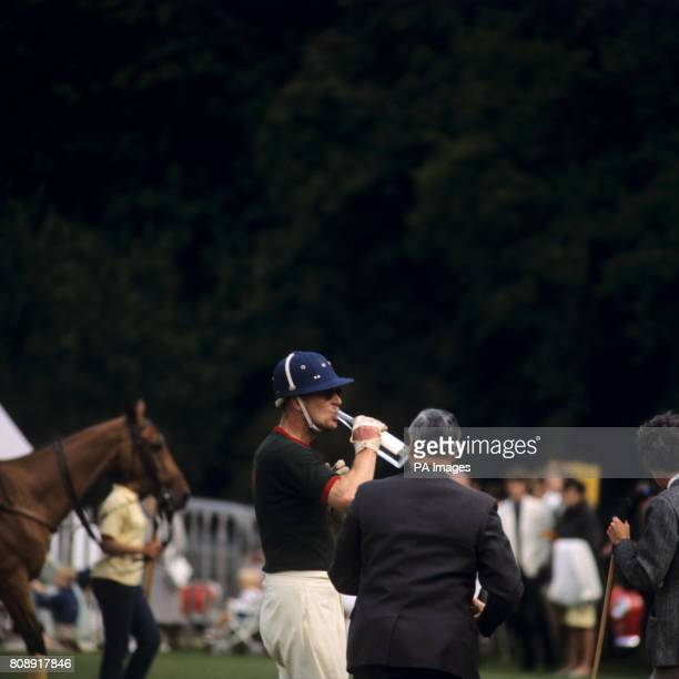 Refreshment for the Duke of Edinburgh at Cowdray Park Midhurst when the Duke's team 'Windsor Park' lost to 'The Centaurs' seven goals to eight