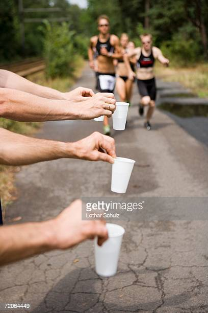 Refreshments for athletes running in sports race