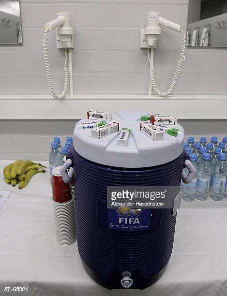 Refreshments for the German National players seen in the Locker room before the international friendly match between Germany and the USA at the...