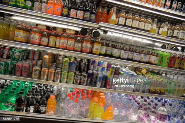 A refrigerated case of soft drinks for sale at the Fresh Market in Coconut Grove
