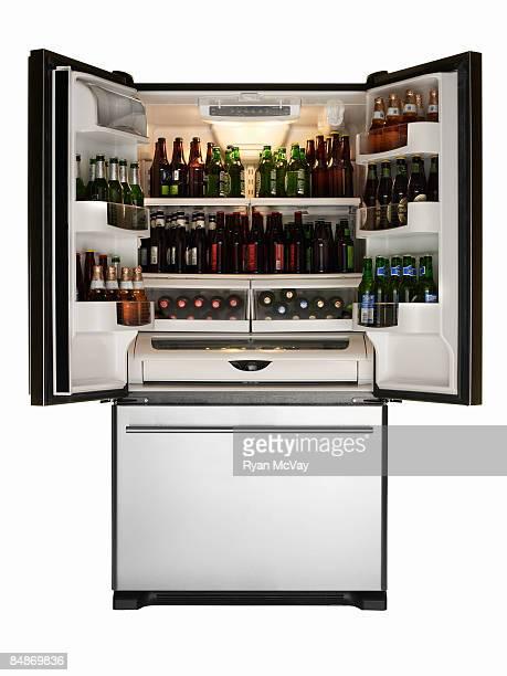 Refrigerator full of beer