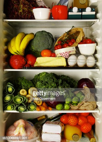 Refrigerator full of ingredients : ストックフォト