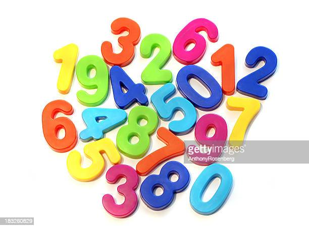Refrigerator magnet style numbers on white background