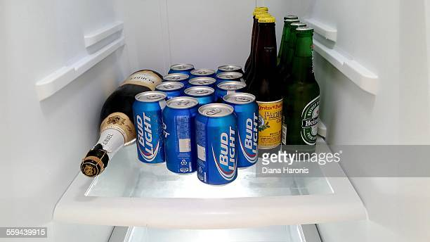 Refrigerator Shelf with only bottles and cans of beer