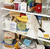 Refrigerator shelves filled with food