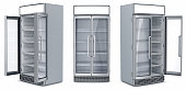 Refrigerator showcase for a supermarket. 3d illustration set isolated on white.