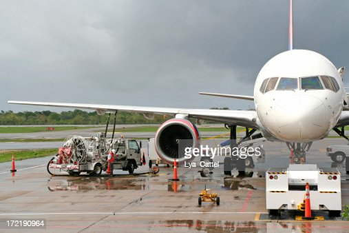 Refuelling an airplane on the airport # 1